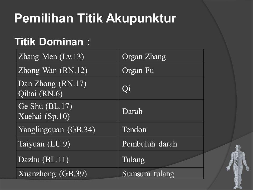 Pemilihan Titik Akupunktur Titik Dominan : Zhang Men (Lv.13) Organ Zhang Zhong Wan (RN.12) Organ Fu Dan Zhong (RN.17) Qihai (RN.6) Qi Ge Shu (BL.17) X