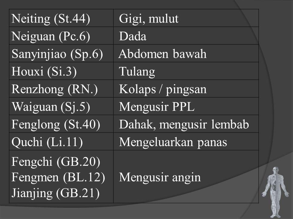 Neiting (St.44) Gigi, mulut Neiguan (Pc.6) Dada Sanyinjiao (Sp.6) Abdomen bawah Houxi (Si.3) Tulang Renzhong (RN.) Kolaps / pingsan Waiguan (Sj.5) Men
