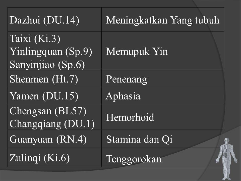 Dazhui (DU.14) Meningkatkan Yang tubuh Taixi (Ki.3) Yinlingquan (Sp.9) Sanyinjiao (Sp.6) Memupuk Yin Shenmen (Ht.7) Penenang Yamen (DU.15) Aphasia Che