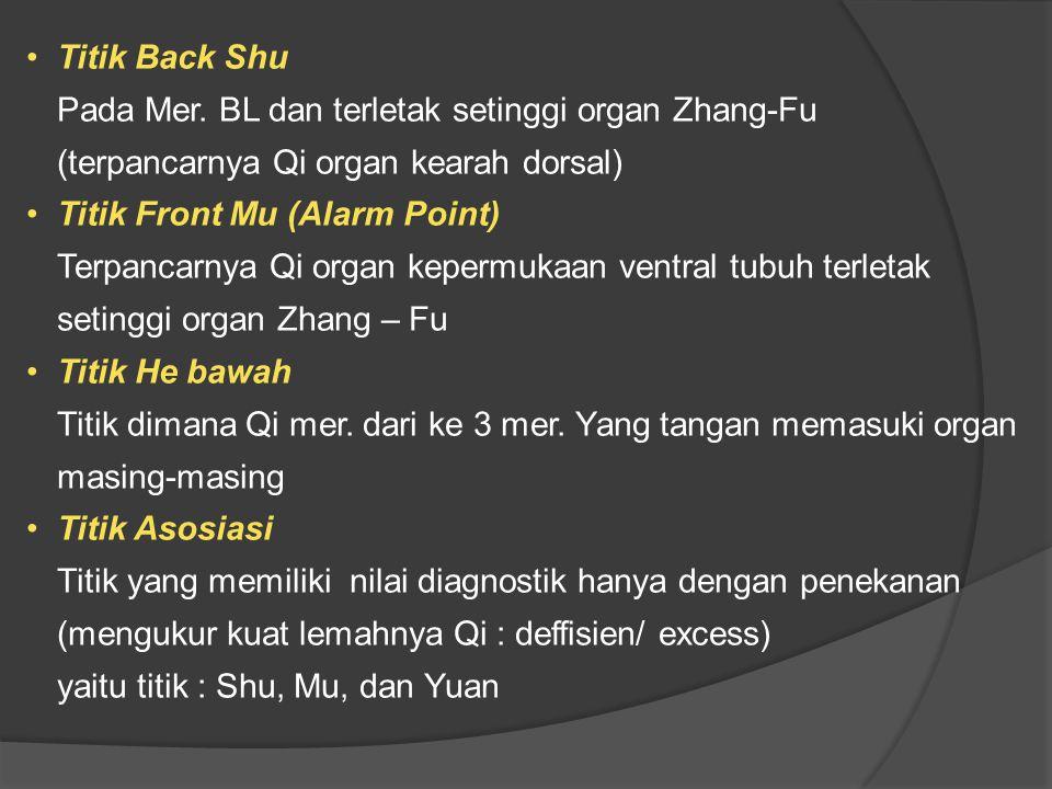Titik Back Shu Pada Mer. BL dan terletak setinggi organ Zhang-Fu (terpancarnya Qi organ kearah dorsal) Titik Front Mu (Alarm Point) Terpancarnya Qi or
