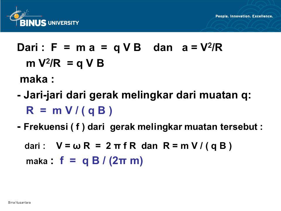 Bina Nusantara Dari : F = m a = q V B dan a = V 2 /R m V 2 /R = q V B maka : - Jari-jari dari gerak melingkar dari muatan q: R = m V / ( q B ) - Freku