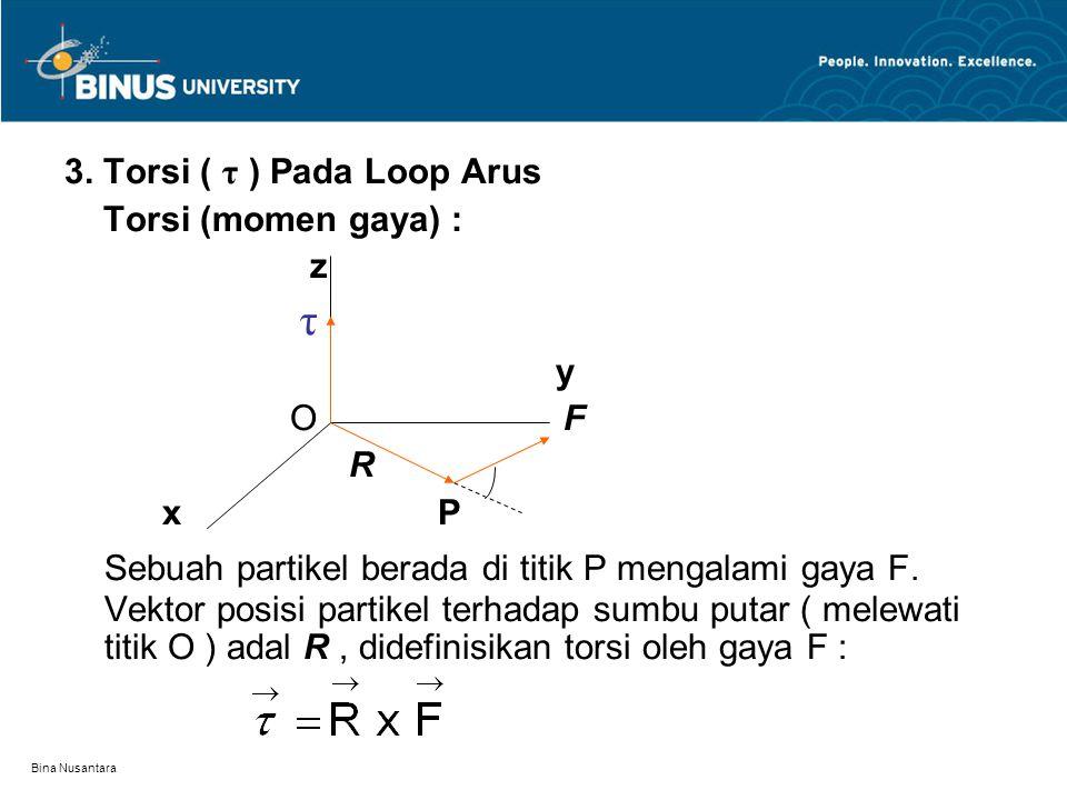 Bina Nusantara 3. Torsi ( τ ) Pada Loop Arus Torsi (momen gaya) : z τ y O F R x P Sebuah partikel berada di titik P mengalami gaya F. Vektor posisi pa