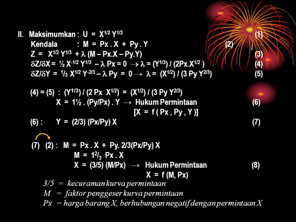 II. Maksimumkan: U = X 1/2 Y 1/3 (1) Kendala: M = Px. X + Py. Y(2) Z = X 1/2 Y 1/3 + (M – Px.X – Py.Y)(3)  Z/  X = ½ X -1/2 Y 1/3 – Px = 0  = (Y 1/