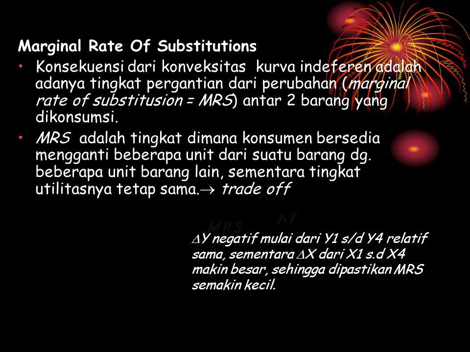 Marginal Rate Of Substitutions Konsekuensi dari konveksitas kurva indeferen adalah adanya tingkat pergantian dari perubahan (marginal rate of substitu