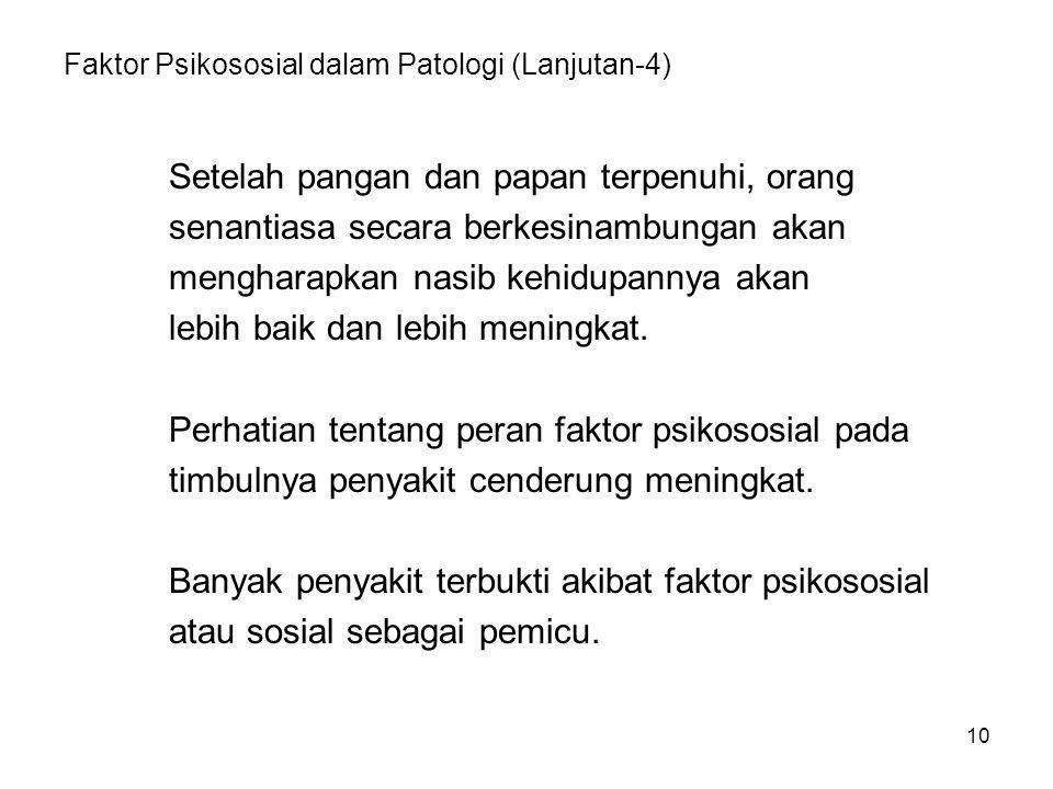10 Faktor Psikososial dalam Patologi (Lanjutan-4) Setelah pangan dan papan terpenuhi, orang senantiasa secara berkesinambungan akan mengharapkan nasib