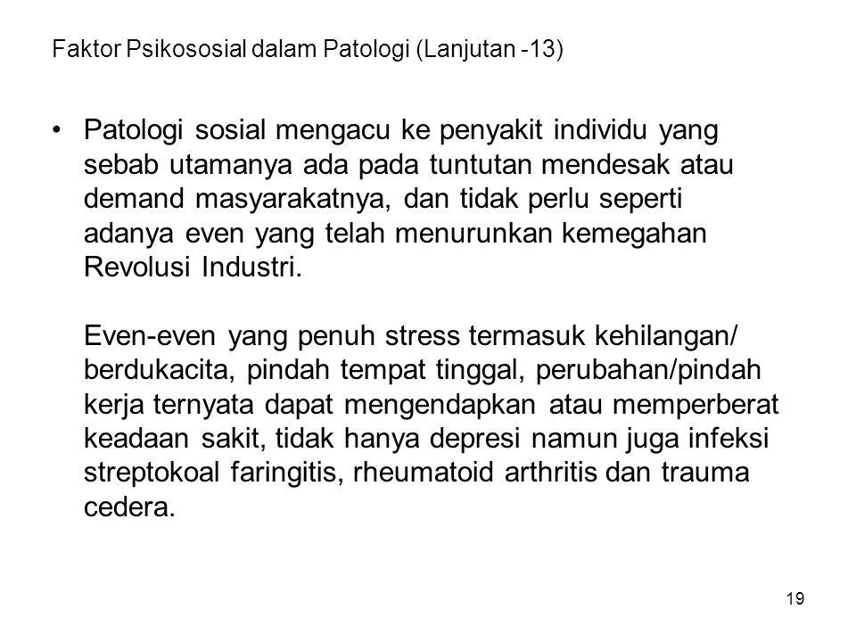 19 Faktor Psikososial dalam Patologi (Lanjutan -13) Patologi sosial mengacu ke penyakit individu yang sebab utamanya ada pada tuntutan mendesak atau d