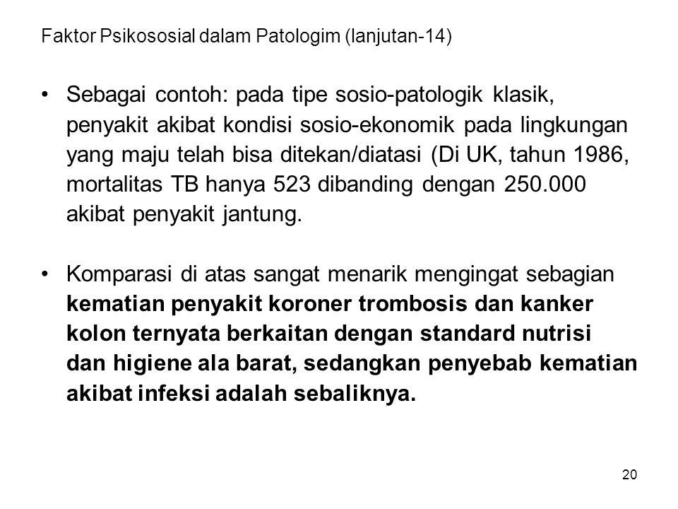 20 Faktor Psikososial dalam Patologim (lanjutan-14) Sebagai contoh: pada tipe sosio-patologik klasik, penyakit akibat kondisi sosio-ekonomik pada lingkungan yang maju telah bisa ditekan/diatasi (Di UK, tahun 1986, mortalitas TB hanya 523 dibanding dengan 250.000 akibat penyakit jantung.