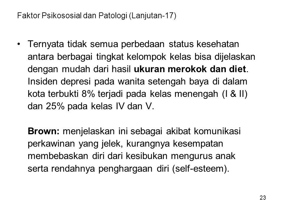 23 Faktor Psikososial dan Patologi (Lanjutan-17) Ternyata tidak semua perbedaan status kesehatan antara berbagai tingkat kelompok kelas bisa dijelaska