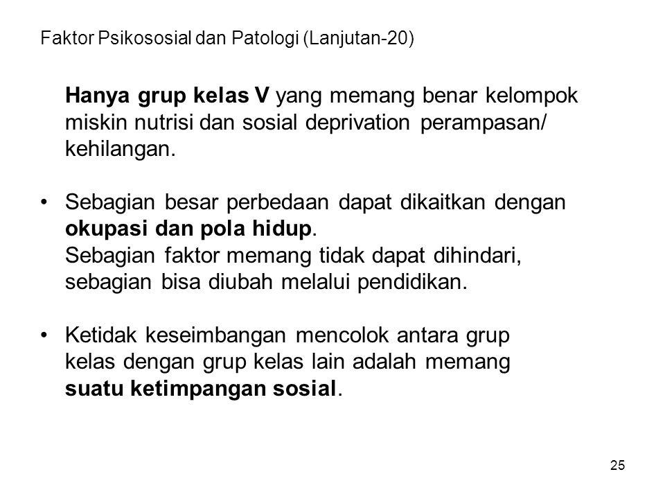25 Faktor Psikososial dan Patologi (Lanjutan-20) Hanya grup kelas V yang memang benar kelompok miskin nutrisi dan sosial deprivation perampasan/ kehilangan.