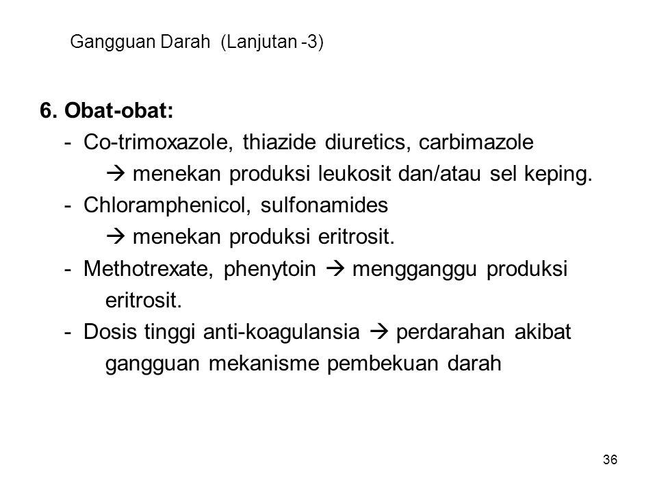 36 Gangguan Darah (Lanjutan -3) 6.Obat-obat: - Co-trimoxazole, thiazide diuretics, carbimazole  menekan produksi leukosit dan/atau sel keping. - Chlo