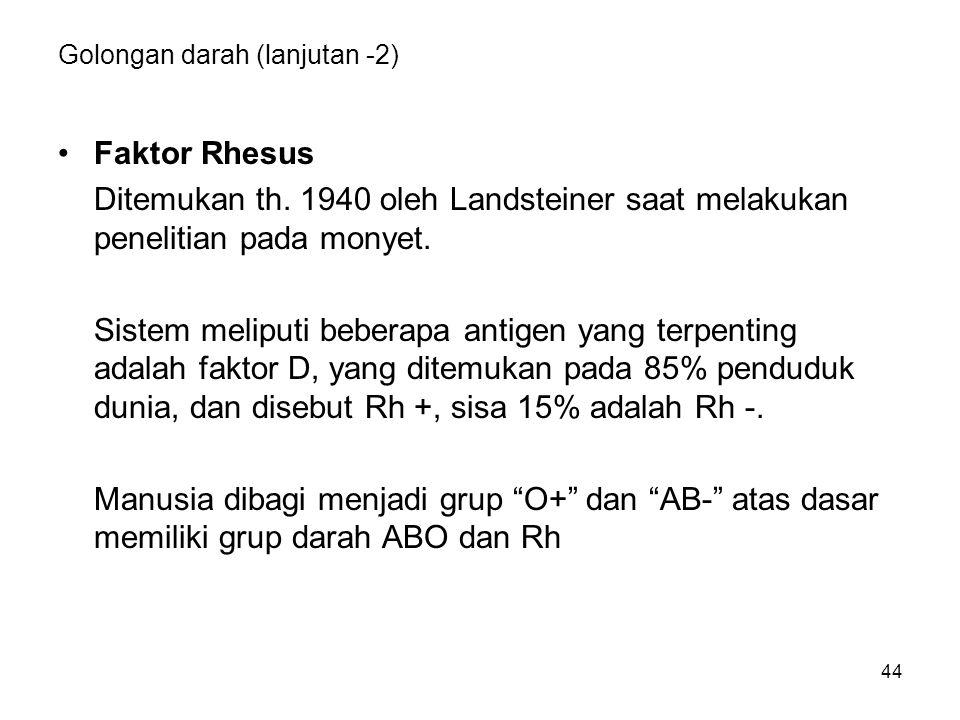 44 Golongan darah (lanjutan -2) Faktor Rhesus Ditemukan th.