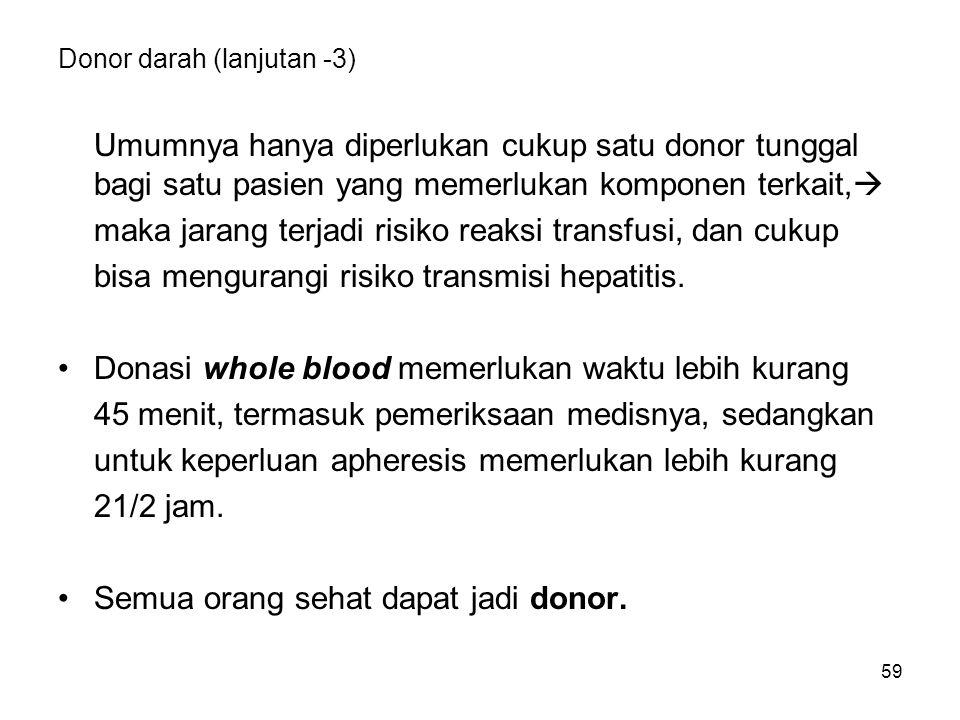 59 Donor darah (lanjutan -3) Umumnya hanya diperlukan cukup satu donor tunggal bagi satu pasien yang memerlukan komponen terkait,  maka jarang terjadi risiko reaksi transfusi, dan cukup bisa mengurangi risiko transmisi hepatitis.