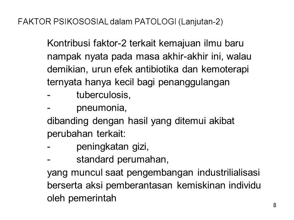 8 FAKTOR PSIKOSOSIAL dalam PATOLOGI (Lanjutan-2) Kontribusi faktor-2 terkait kemajuan ilmu baru nampak nyata pada masa akhir-akhir ini, walau demikian