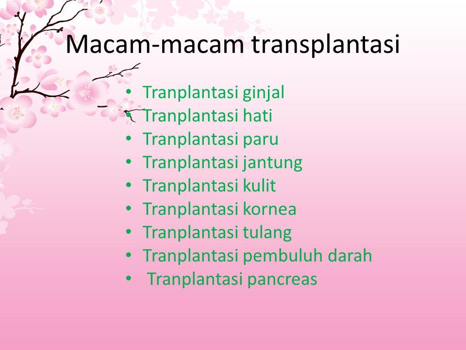 Macam-macam transplantasi Tranplantasi ginjal Tranplantasi hati Tranplantasi paru Tranplantasi jantung Tranplantasi kulit Tranplantasi kornea Tranplantasi tulang Tranplantasi pembuluh darah Tranplantasi pancreas