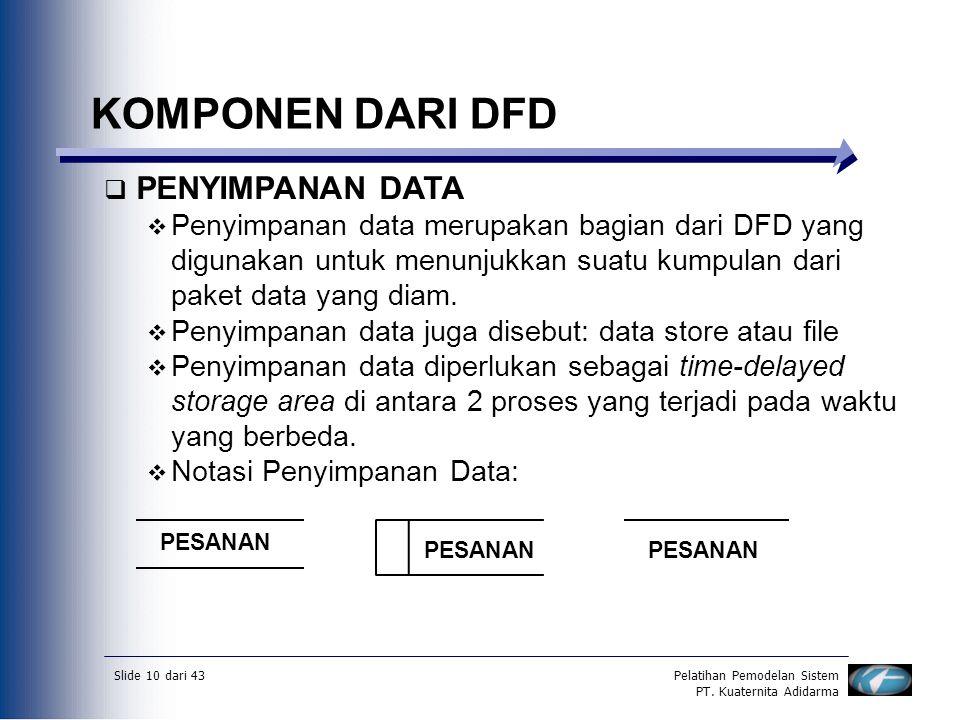 Slide 10 dari 43Pelatihan Pemodelan Sistem PT. Kuaternita Adidarma KOMPONEN DARI DFD  PENYIMPANAN DATA  Penyimpanan data merupakan bagian dari DFD y