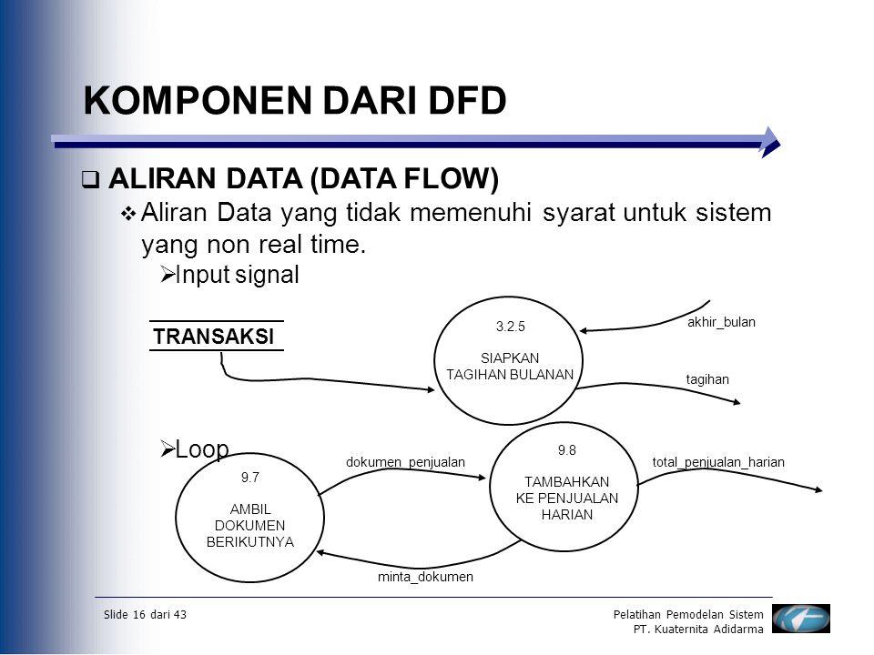 Slide 16 dari 43Pelatihan Pemodelan Sistem PT. Kuaternita Adidarma KOMPONEN DARI DFD  ALIRAN DATA (DATA FLOW)  Aliran Data yang tidak memenuhi syara
