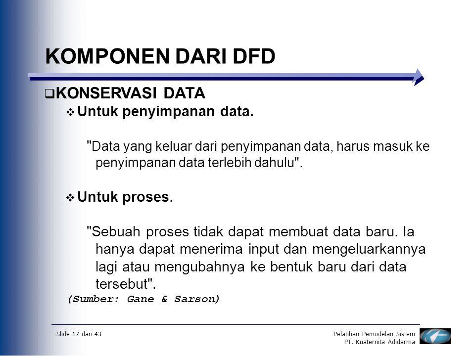 Slide 17 dari 43Pelatihan Pemodelan Sistem PT. Kuaternita Adidarma KOMPONEN DARI DFD  KONSERVASI DATA  Untuk penyimpanan data.