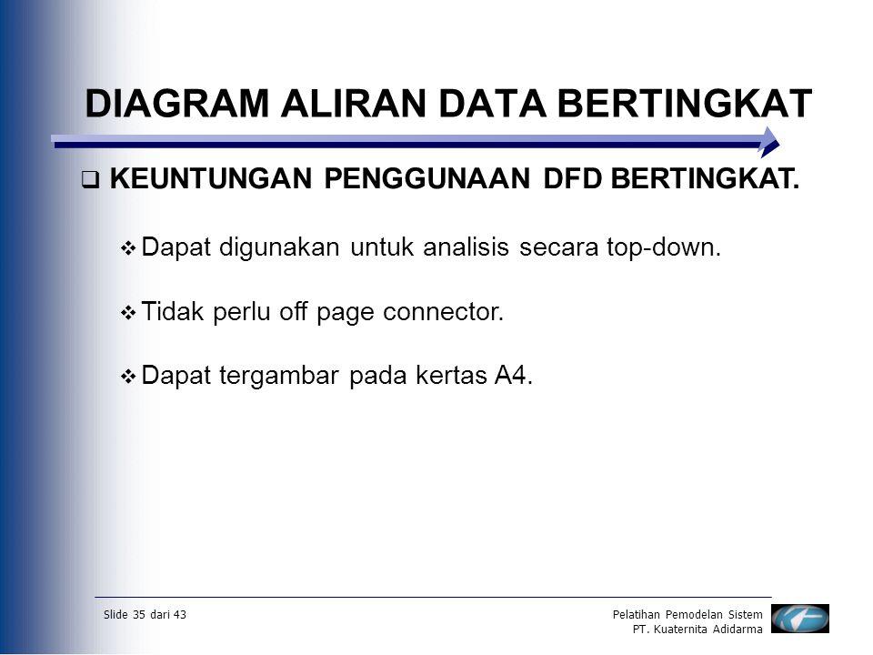 Slide 35 dari 43Pelatihan Pemodelan Sistem PT. Kuaternita Adidarma DIAGRAM ALIRAN DATA BERTINGKAT  KEUNTUNGAN PENGGUNAAN DFD BERTINGKAT.  Dapat digu