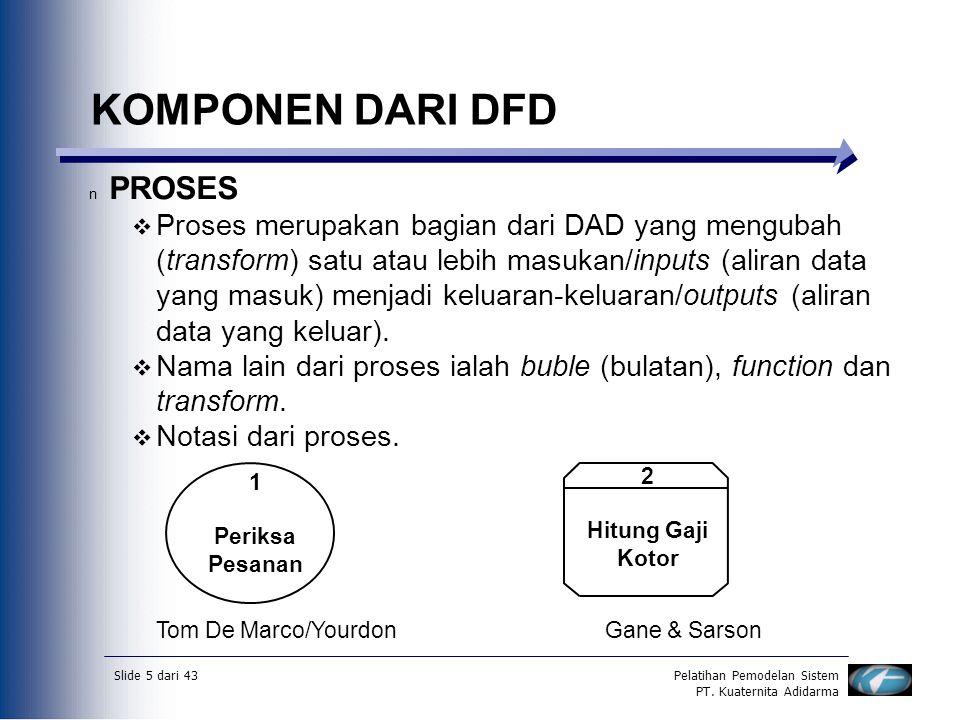 Slide 5 dari 43Pelatihan Pemodelan Sistem PT. Kuaternita Adidarma KOMPONEN DARI DFD n PROSES  Proses merupakan bagian dari DAD yang mengubah (transfo