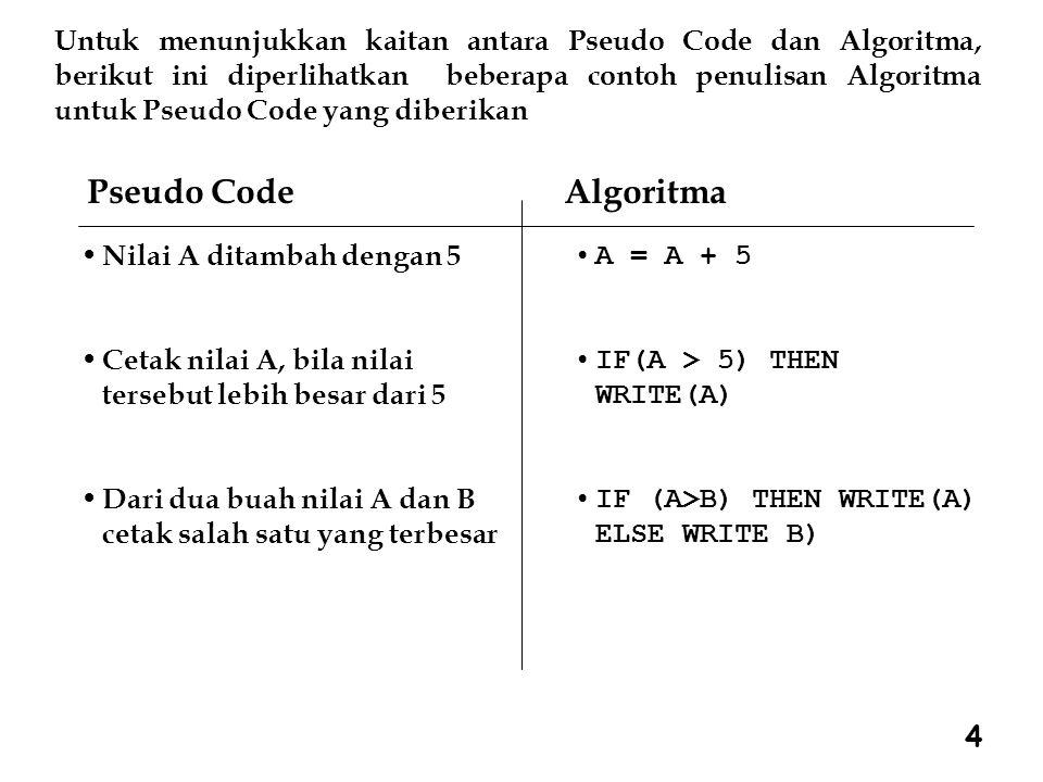Untuk menunjukkan kaitan antara Pseudo Code dan Algoritma, berikut ini diperlihatkan beberapa contoh penulisan Algoritma untuk Pseudo Code yang diberikan Pseudo Code Algoritma Nilai A ditambah dengan 5 Cetak nilai A, bila nilai tersebut lebih besar dari 5 Dari dua buah nilai A dan B cetak salah satu yang terbesar A = A + 5 IF(A > 5) THEN WRITE(A) IF (A>B) THEN WRITE(A) ELSE WRITE B) 4
