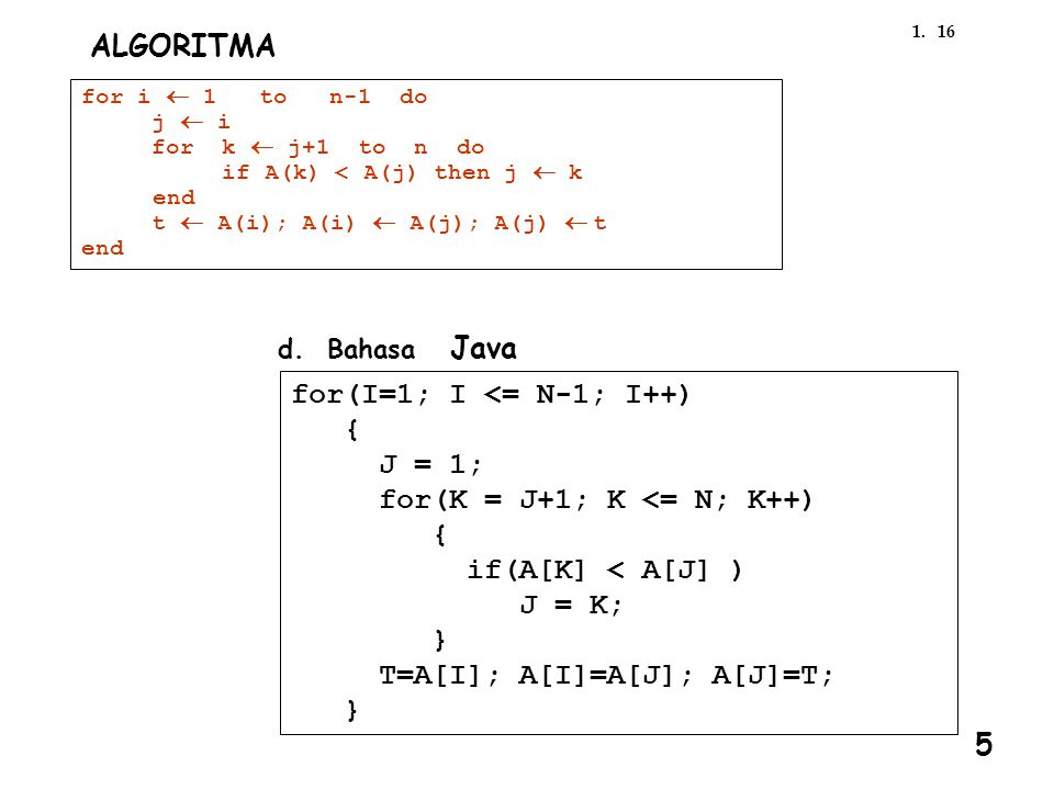161. ALGORITMA for i  1 to n-1 do j  i for k  j+1 to n do if A(k) < A(j) then j  k end t  A(i); A(i)  A(j); A(j)  t end d. Bahasa Java for(I=1