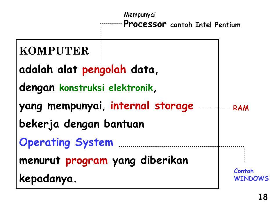 RAM Contoh WINDOWS Mempunyai Processor contoh Intel Pentium KOMPUTER adalah alat pengolah data, dengan konstruksi elektronik, yang mempunyai, internal storage bekerja dengan bantuan Operating System menurut program yang diberikan kepadanya.