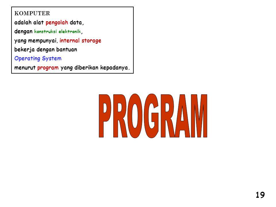 KOMPUTER adalah alat pengolah data, dengan konstruksi elektronik, yang mempunyai, internal storage bekerja dengan bantuan Operating System menurut program yang diberikan kepadanya.