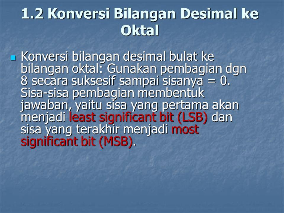 1.2 Konversi Bilangan Desimal ke Oktal Konversi bilangan desimal bulat ke bilangan oktal: Gunakan pembagian dgn 8 secara suksesif sampai sisanya = 0.