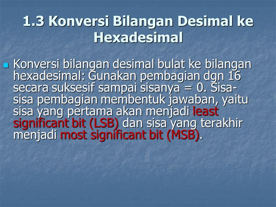 1.3 Konversi Bilangan Desimal ke Hexadesimal Konversi bilangan desimal bulat ke bilangan hexadesimal: Gunakan pembagian dgn 16 secara suksesif sampai