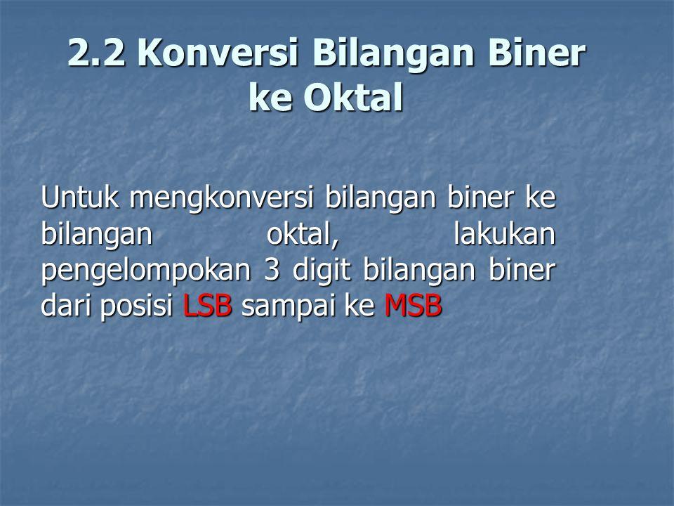 2.2 Konversi Bilangan Biner ke Oktal Untuk mengkonversi bilangan biner ke bilangan oktal, lakukan pengelompokan 3 digit bilangan biner dari posisi LSB