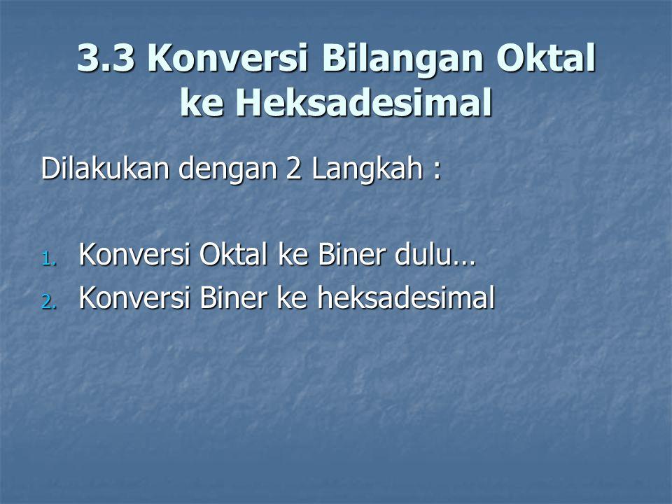 Dilakukan dengan 2 Langkah : 1. Konversi Oktal ke Biner dulu… 2. Konversi Biner ke heksadesimal 3.3 Konversi Bilangan Oktal ke Heksadesimal