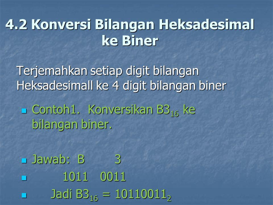 4.2 Konversi Bilangan Heksadesimal ke Biner Terjemahkan setiap digit bilangan Heksadesimall ke 4 digit bilangan biner Contoh1. Konversikan B3 16 ke bi