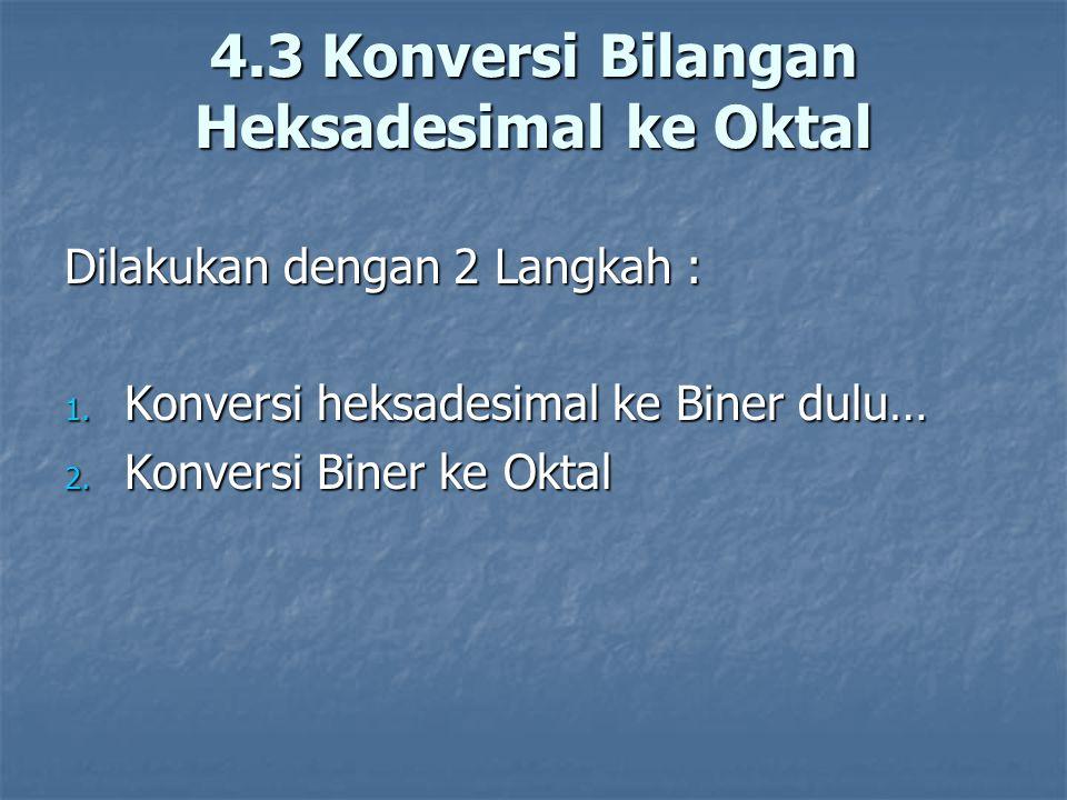 Dilakukan dengan 2 Langkah : 1. Konversi heksadesimal ke Biner dulu… 2. Konversi Biner ke Oktal 4.3 Konversi Bilangan Heksadesimal ke Oktal