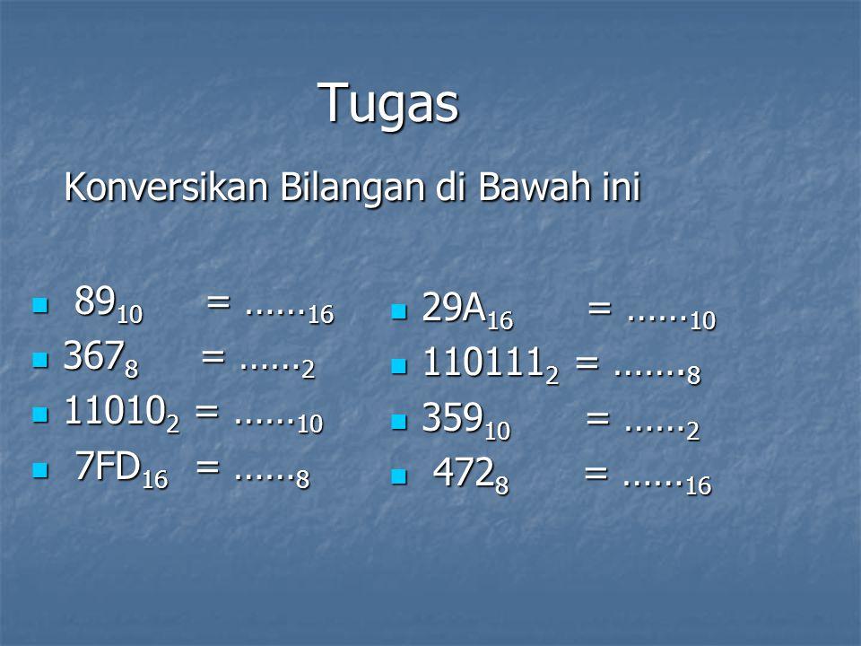 Tugas Konversikan Bilangan di Bawah ini Konversikan Bilangan di Bawah ini 89 10 = …… 16 89 10 = …… 16 367 8 = …… 2 367 8 = …… 2 11010 2 = …… 10 11010