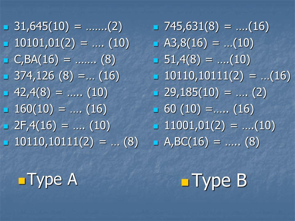 31,645(10) = …….(2) 31,645(10) = …….(2) 10101,01(2) = …. (10) 10101,01(2) = …. (10) C,BA(16) = ……. (8) C,BA(16) = ……. (8) 374,126 (8) =… (16) 374,126