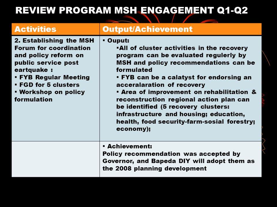 REVIEW PROGRAM MSH ENGAGEMENT Q1-Q2 Activities Establishing the MSH trust building ActivitiesOutput/Achievement 2. Establishing the MSH Forum for coor