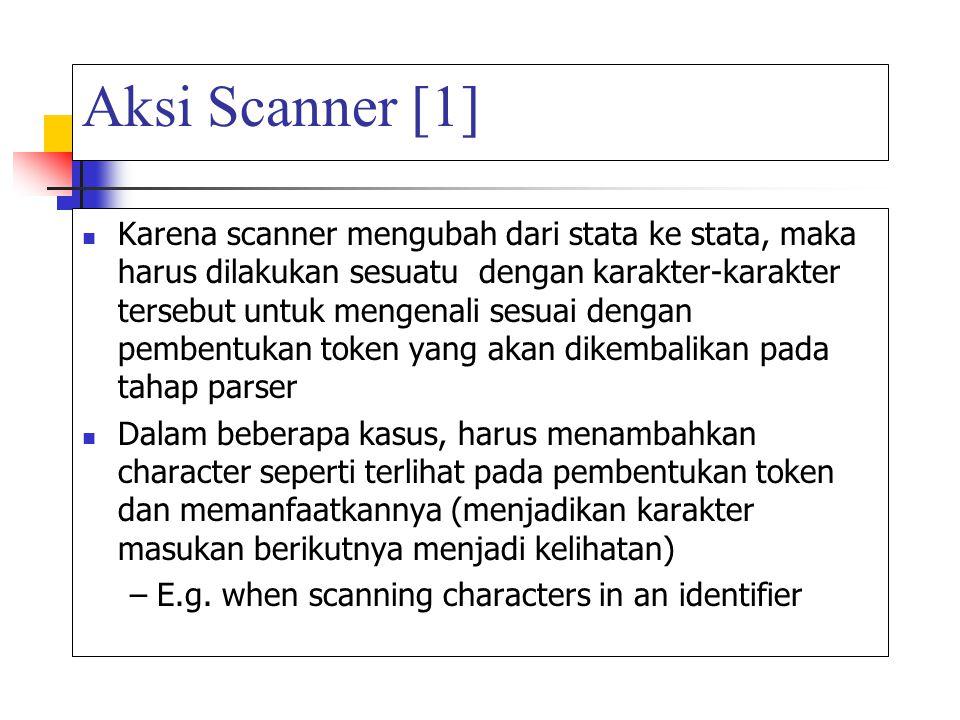 Aksi Scanner [1] Karena scanner mengubah dari stata ke stata, maka harus dilakukan sesuatu dengan karakter-karakter tersebut untuk mengenali sesuai de