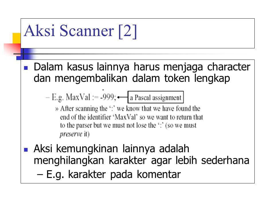 Aksi Scanner [2] Dalam kasus lainnya harus menjaga character dan mengembalikan dalam token lengkap Aksi kemungkinan lainnya adalah menghilangkan karak