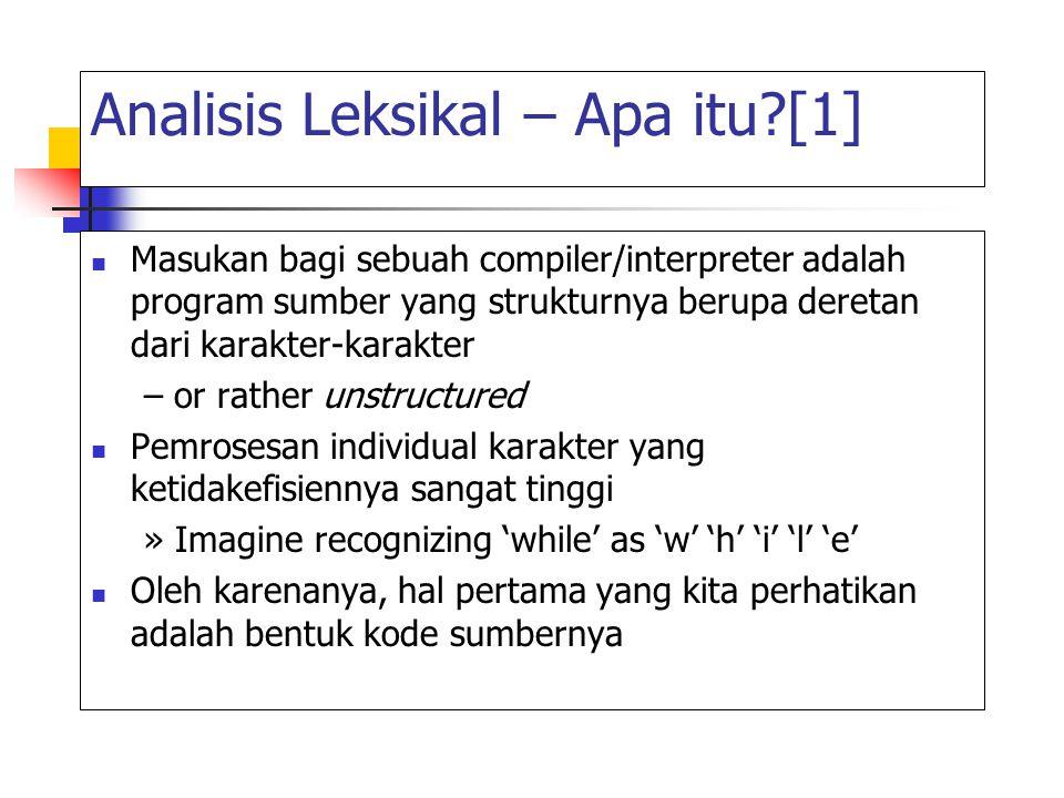 Analisis Leksikal – Apa itu?[2] A Lexical Analyzer (scanner) mengubah deretan karakter-karakter menjadi deretan token-token – i.e.