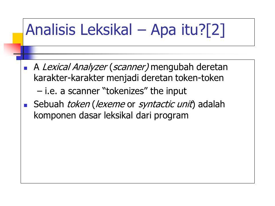 """Analisis Leksikal – Apa itu?[2] A Lexical Analyzer (scanner) mengubah deretan karakter-karakter menjadi deretan token-token – i.e. a scanner """"tokenize"""