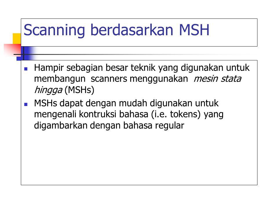Scanning berdasarkan MSH Hampir sebagian besar teknik yang digunakan untuk membangun scanners menggunakan mesin stata hingga (MSHs) MSHs dapat dengan