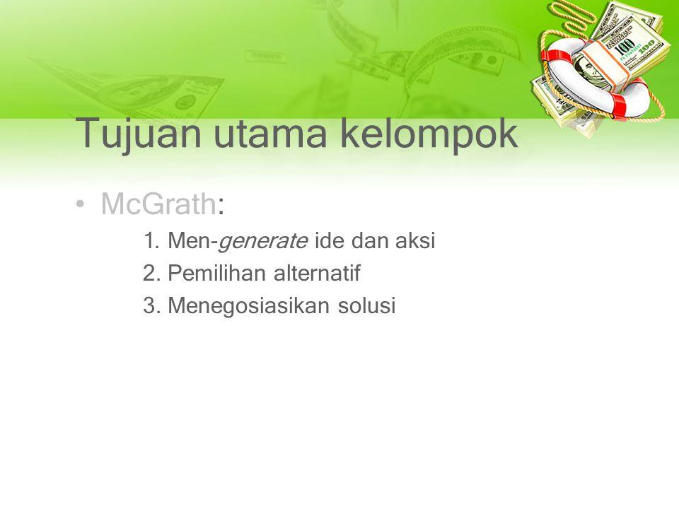 Tujuan utama kelompok McGrath: 1. Men-generate ide dan aksi 2. Pemilihan alternatif 3. Menegosiasikan solusi