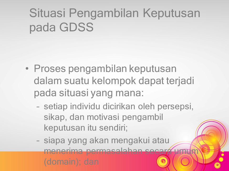 Situasi Pengambilan Keputusan pada GDSS Proses pengambilan keputusan dalam suatu kelompok dapat terjadi pada situasi yang mana: –setiap individu dicir