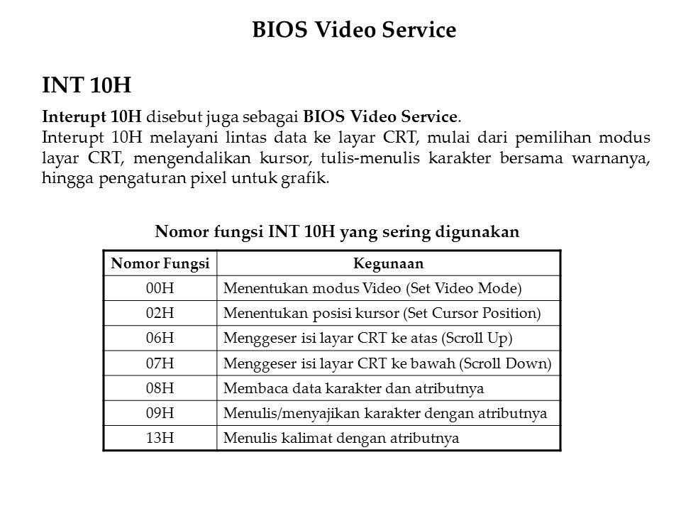 INT 10H Interupt 10H disebut juga sebagai BIOS Video Service. Interupt 10H melayani lintas data ke layar CRT, mulai dari pemilihan modus layar CRT, me