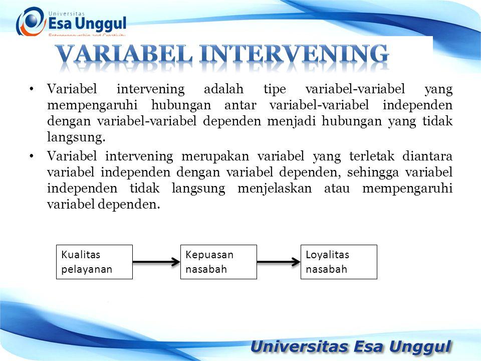Variabel intervening adalah tipe variabel-variabel yang mempengaruhi hubungan antar variabel-variabel independen dengan variabel-variabel dependen men