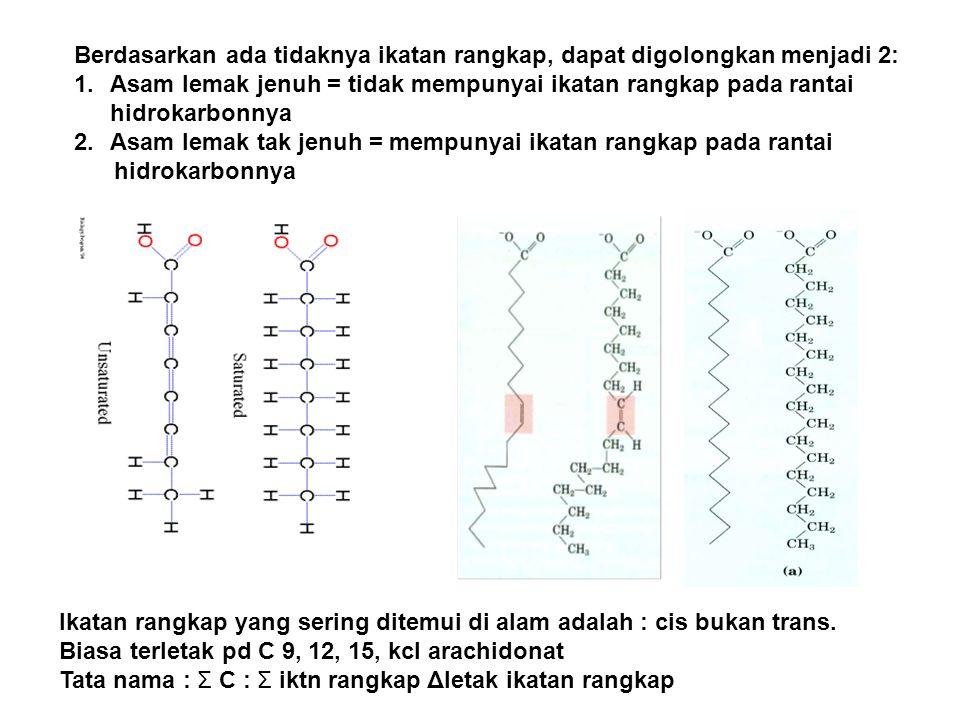 Berdasarkan ada tidaknya ikatan rangkap, dapat digolongkan menjadi 2: 1.Asam lemak jenuh = tidak mempunyai ikatan rangkap pada rantai hidrokarbonnya 2