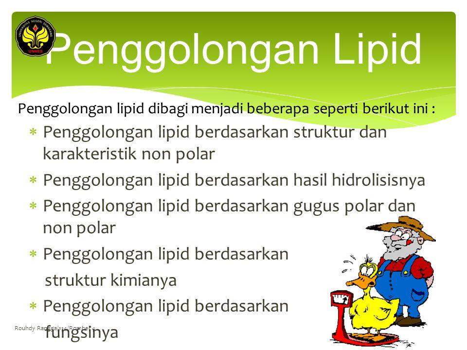 Penggolongan lipid berdasarkan struktur dan karakteristik non polar  Penggolongan lipid berdasarkan hasil hidrolisisnya  Penggolongan lipid berdas