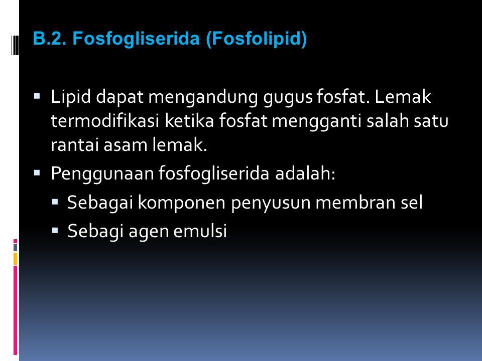 B.2. Fosfogliserida (Fosfolipid)  Lipid dapat mengandung gugus fosfat. Lemak termodifikasi ketika fosfat mengganti salah satu rantai asam lemak.  Pe