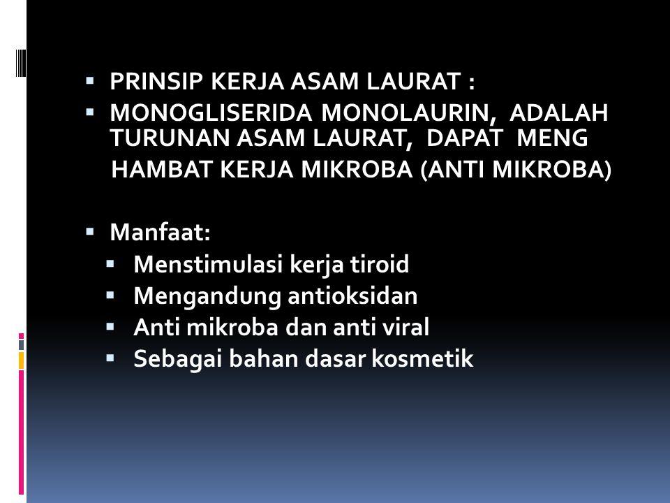  PRINSIP KERJA ASAM LAURAT :  MONOGLISERIDA MONOLAURIN, ADALAH TURUNAN ASAM LAURAT, DAPAT MENG HAMBAT KERJA MIKROBA (ANTI MIKROBA)  Manfaat:  Mens