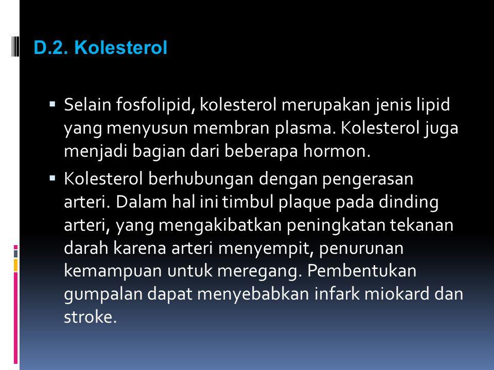 D.2. Kolesterol  Selain fosfolipid, kolesterol merupakan jenis lipid yang menyusun membran plasma. Kolesterol juga menjadi bagian dari beberapa hormo